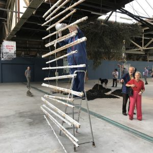 Sticks and Stones, 2018 Installatie van hangende latten en performance op groepstentoonstelling in havenloods, Amsterdam. 6x3m.