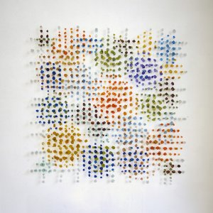 Multicolor, 2019, visschubben, gestikt, 100 x 100 cm