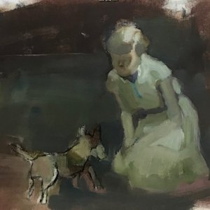 2020 meisje met hond/olieverf