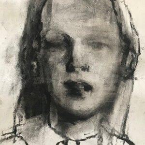 2020 uit de serie honderd portretten/houtskool olieverf