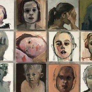 2020 uit de serie honderd portretten/gemengde techniek