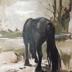Grazing horse, 2018, olieverf op linnen 250x200cm